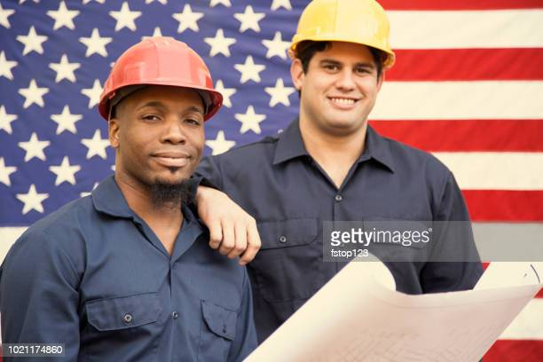 construction, blue collar workers and usa flag. - labor day stock pictures, royalty-free photos & images