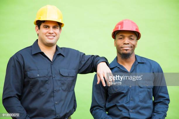 construction, blue collar workers on green screen. - trade union stock pictures, royalty-free photos & images