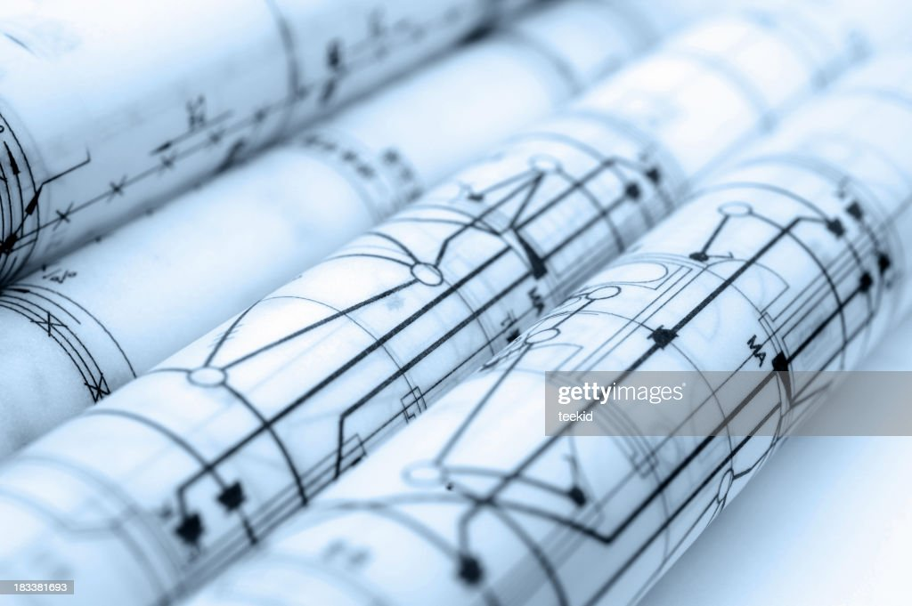Construction blueprintsemitransparent parchment paper stock photo construction blueprint semi transparent parchment paper stock photo malvernweather Image collections