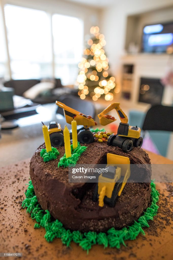 Cool Construction Cake With Bulldozer Excavator And Dump Truck High Res Funny Birthday Cards Online Elaedamsfinfo