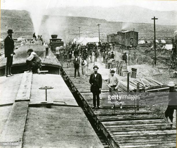 Construction camp of the Central Pacific Railroad in Utah April before linkup with the Union Pacific to create America's first transcontinental...