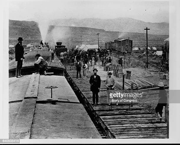 A construction camp of the Central Pacific railroad somewhere in Utah 1869