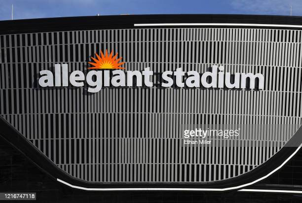 Construction continues at Allegiant Stadium the USD 2 billion glassdomed future home of the Las Vegas Raiders on April 3 2020 in Las Vegas Nevada The...