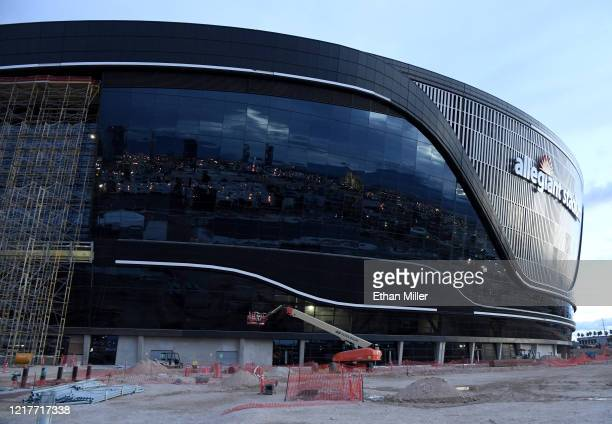 Construction continues at Allegiant Stadium the USD 2 billion glassdomed future home of the Las Vegas Raiders on April 8 2020 in Las Vegas Nevada The...