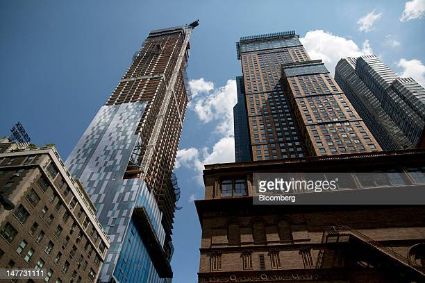 Construction continues at One57 a luxury apartment building in New York US on Monday July 2 2012 Qatar Prime Minister Sheikh Hamad Bin Jasim Bin...