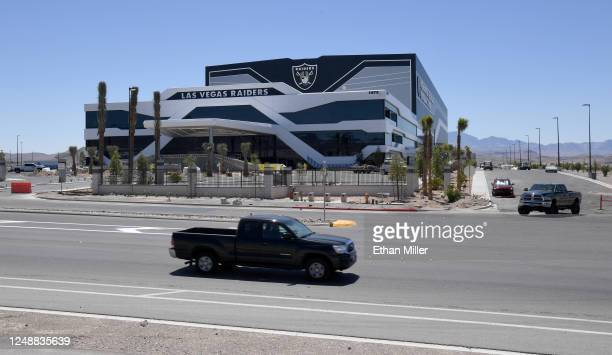 Construction continues at the 336,000-square-foot Las Vegas Raiders Headquarters/Intermountain Healthcare Performance Center on June 10, 2020 in...
