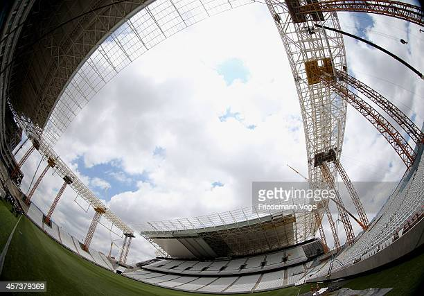 Construction continues at the Arena de Sao Paulo venue for the FIFA 2014 World Cup Brazil on December 16 2013 in Sao Paulo Brazil