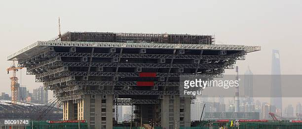 Construction continues at the China Pavilion at the World Expo site on April 21 2009 in Shanghai China Expo 2010 is a scheduled World Expo in the...