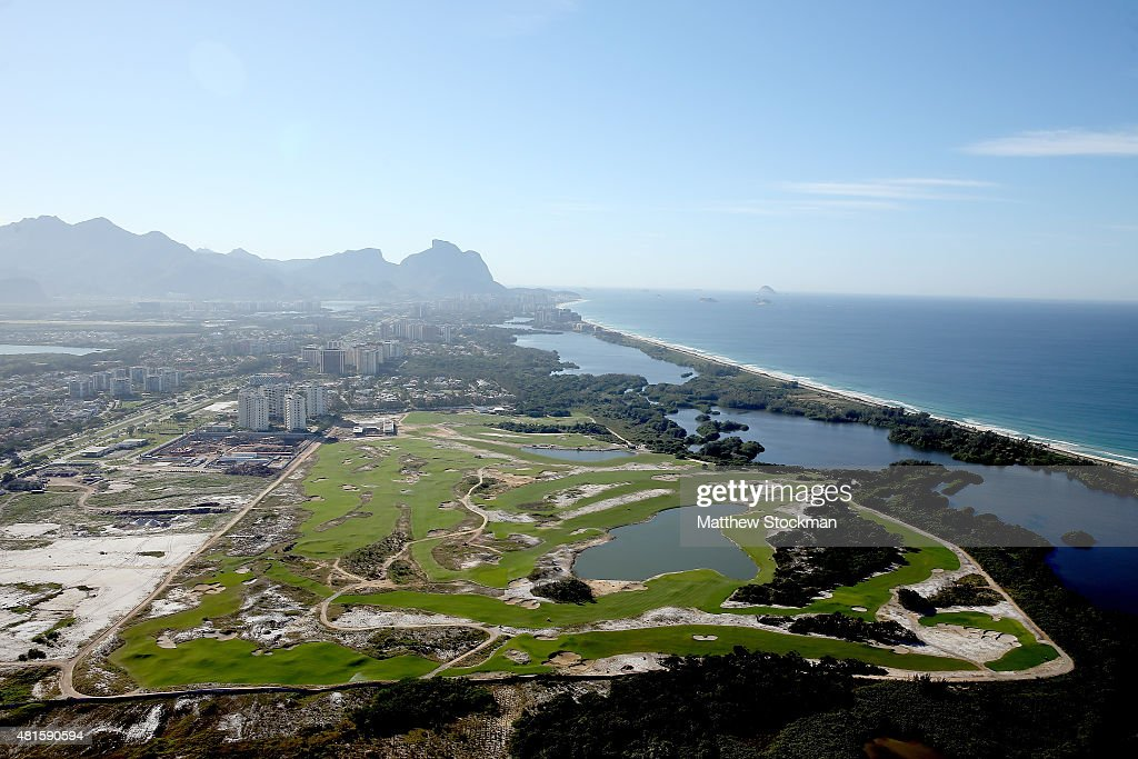 Construction continues at the golf course in the Barra da Tijuca neighborhood with nearly one year to go to the Rio 2016 Olympic Games on July 21, 2015 in Rio de Janeiro, Brazil.