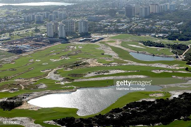 Construction continues at the golf course in the Barra da Tijuca neighborhood with nearly one year to go to the Rio 2016 Olympic Games on July 21...