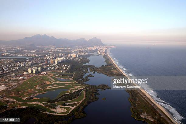 Construction continues at the golf course in the Barra da Tijuca neighborhood with nearly one year to go to the Rio 2016 Olympic Games on August 5...