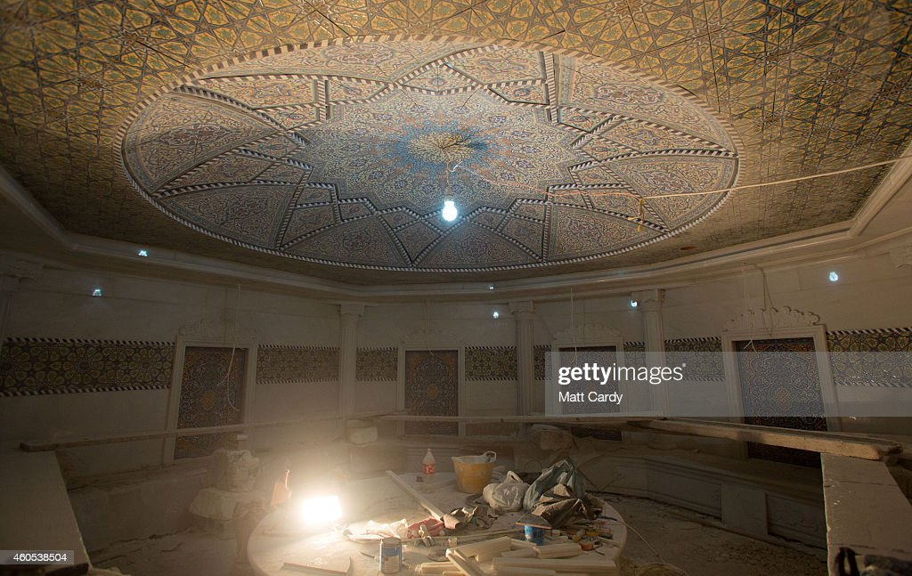 Construction continues inside a Turkish Bath inside the replica White House, a $20million villa being built inside Dream City, a new exclusive residential suburb that is being developed in Erbil on December 15, 2014 in Erbil, Iraq. Dream City, is one of several high value residential areas that have been built in the Kurdistan capital since 2003 and are complete with their own mosque, shopping areas and schools. Property values vary, but many villas in the gated and walled development are now valued at over $1million and it even features a $20million US White House replica. Despite insecurity in the rest of Iraq, the semi autonomous region of Kurdistan has been seen by some investors as the new Dubai and although the advance of Islamic State and a budget row with Baghdad has dampened some of the enthusiasm, the city skyline is still changing at a rapid pace.