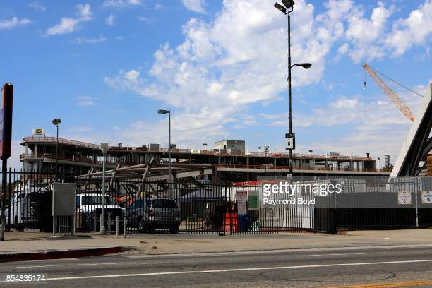 Construction continues on Banc Of California Stadium home of the Los Angeles FC soccer team in Los Angeles California on September 11 2017