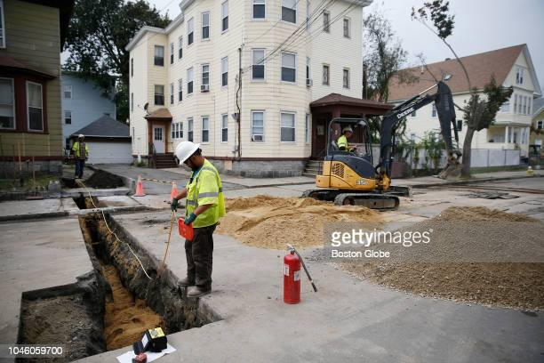 Construction continues on Brookfield Street in South Lawrence MA on Oct 4 2018 Days after the natural gas calamity in the Merrimack Valley Columbia...