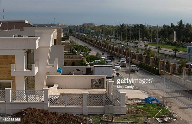 Construction continues on luxury properties inside Dream City a new exclusive residential suburb that is being developed in Erbil on December 15 2014...