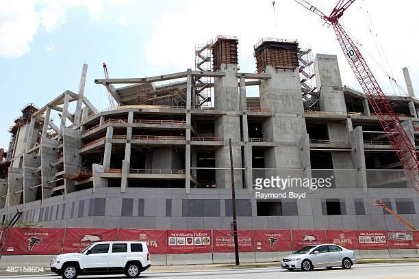 Construction continues on New Atlanta Stadium , future home of the Atlanta Falcons football team and Atlanta United FC of Major League Soccer on July...