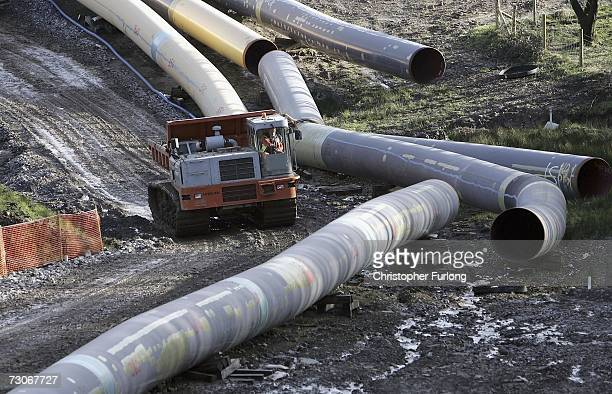 Construction continues on the 150 mile LNG gas pipeline at Trebanos on January 22 2007 in Trebanos Wales Protestors have set up a new camp in...