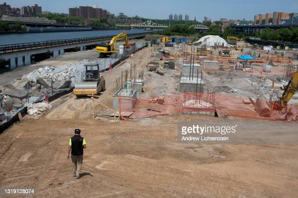 Construction continues on the day of the groundbreaking ceremony for the new Universal Hip Hop Museum on May 20, 2021 in the Bronx, New York.
