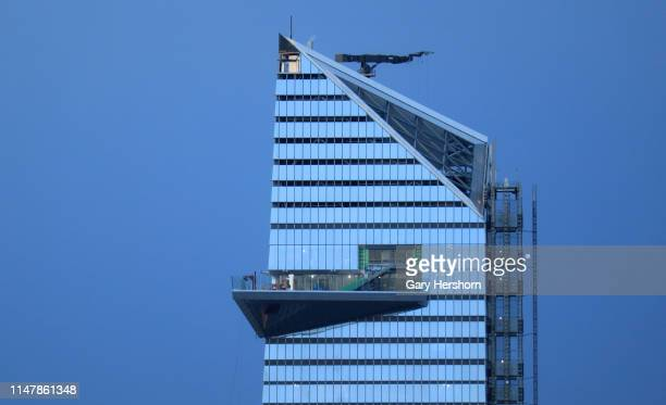 Construction continues on the Edge observation deck at 30 Hudson Yards as seen from the Empire State Building on May 7 2019 in New York City