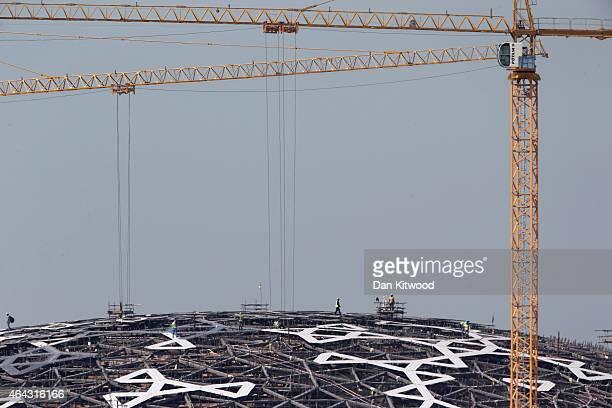 Construction continues on the 'Louvre Abu Dhabi' on Saddiyat Island on February 4 2015 in Abu Dhabi United Arab Emirates Abu Dhabi is the capital of...