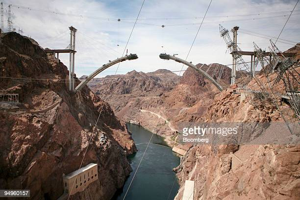 Construction continues on the Mike O'CallaghanPat Tillman Memorial Bridge part of the Hoover Dam Bypass over the Colorado River near Boulder City...