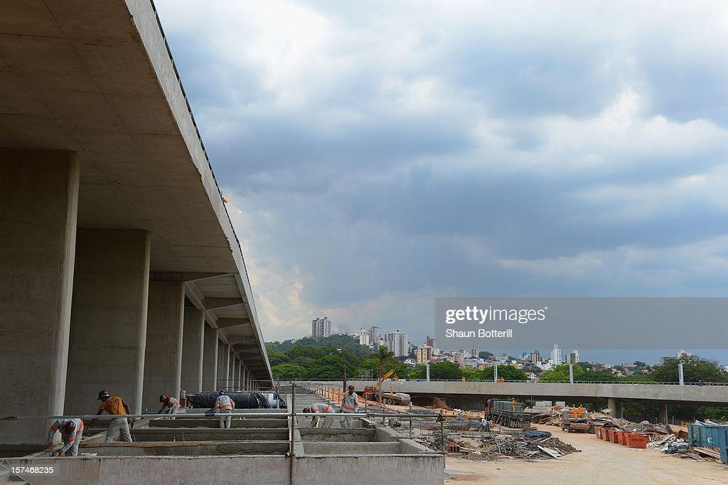 Construction continues on the Mineirao Stadium, venue for the 2014 FIFA World Cup on December 3, 2012 in Belo Horizonte, Brazil.
