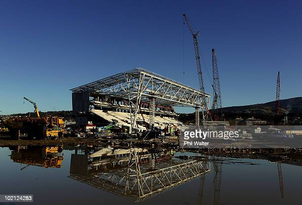 Construction continues on the new Forsyth Barr Stadium on June 16 2010 in Dunedin New Zealand The new stadium which features a closed roof will...