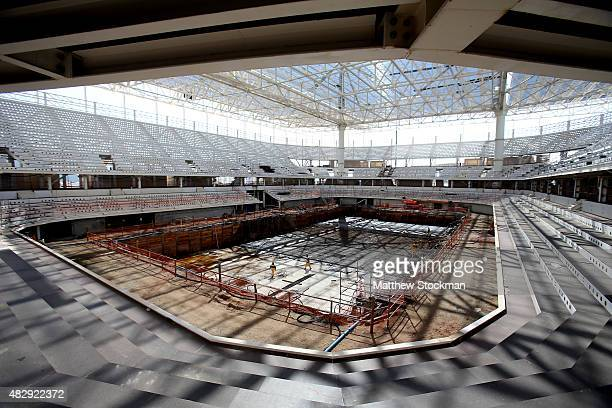 Construction continues on the Olympic Aquatics Stadium at the Olympic Park for the Rio 2016 Olympic Games in the Barra da Tijuca neighborhood on...