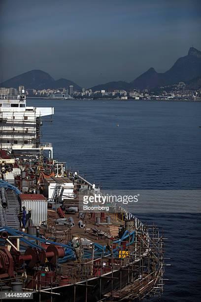 Construction continues on the Romulo Almeida vessel a Petroleo Brasileiro SA oil tanker under construction at the Maua SA shipyard in Niteroi Brazil...