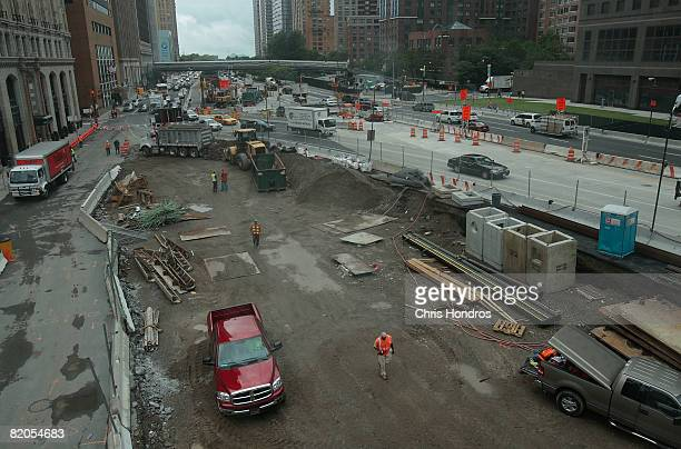 Construction continues on the west edge of the former World Trade Center site in the area where St Nicholas Greek church once stood July 24 2008 in...