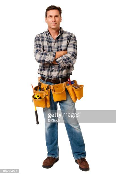 Construction Contractor Carpenter with Arms Crossed Isolated on White Background