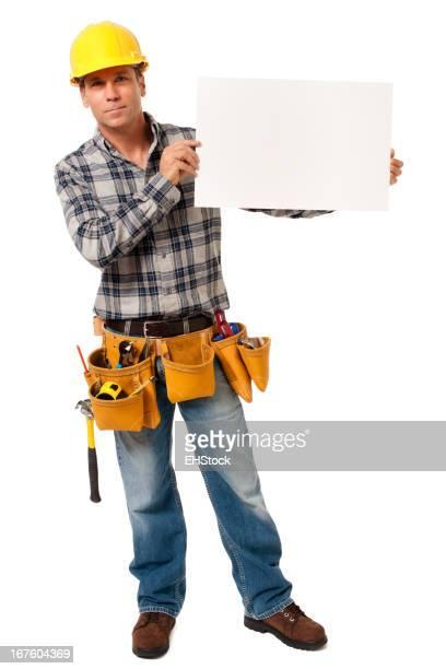 Konstruktion Auftragnehmer Carpenter mit leere Schild, isoliert auf weißem Hintergrund