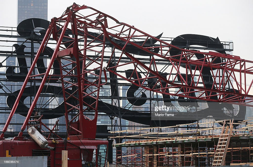 A construction crane is mangled after it collapsed on January 9, 2013 in the Queens borough of New York City. The crane collapse injured seven construction workers on the site in the Long Island City neighborhood.