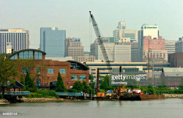 A construction crane is seen as the revival of the Christina River waterfront continues south of Wilmington Delaware Friday July 2005