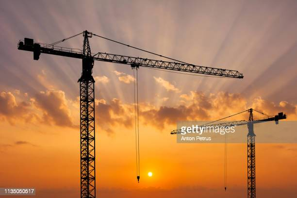 construction crane on the background of a beautiful sky at sunset. - crane stock pictures, royalty-free photos & images