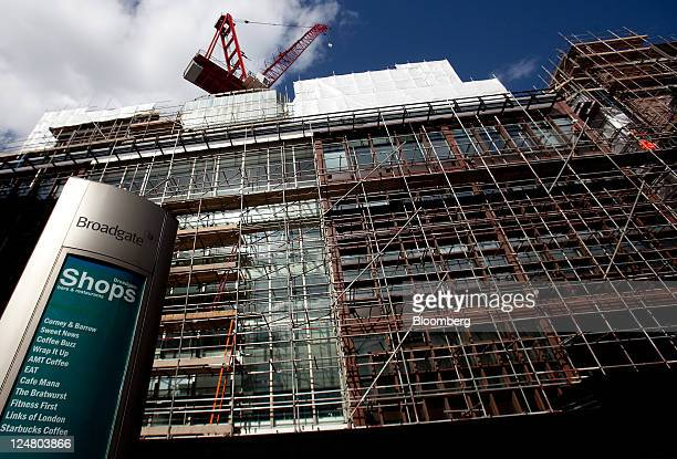Construction crane stands above number 4 Broadgate as development continues on the new London headquarters for UBS AG at the site owned by British...