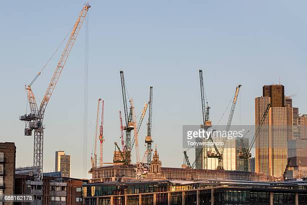 Construction cranes, London