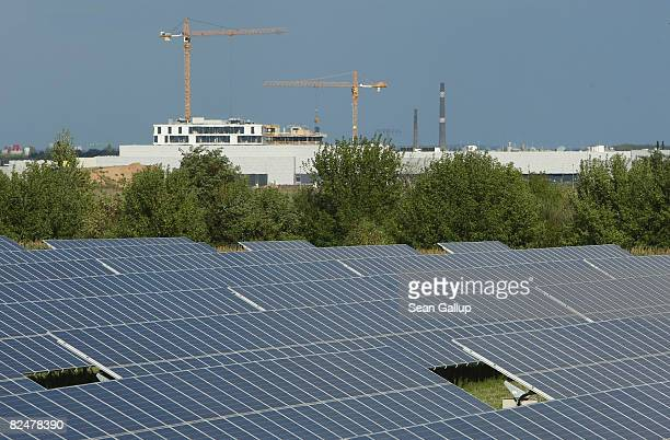 Construction cranes loom over the the headquarters and production facilities of German solar cells producer QCells behind a field of solar cell...