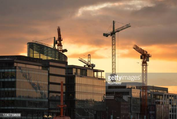 Construction cranes seen in Dublin's Silicon Docks area during Level 5 Covid-19 lockdown. On Friday, 22 January in Dublin, Ireland.