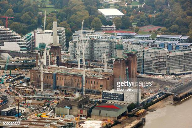 Construction cranes surround the Battersea Power Station office retail and residential development in this aerial view taken over the Nine Elms...