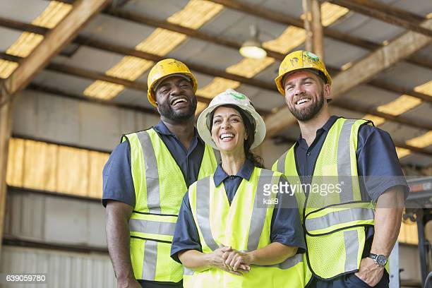 Construction crew with female boss
