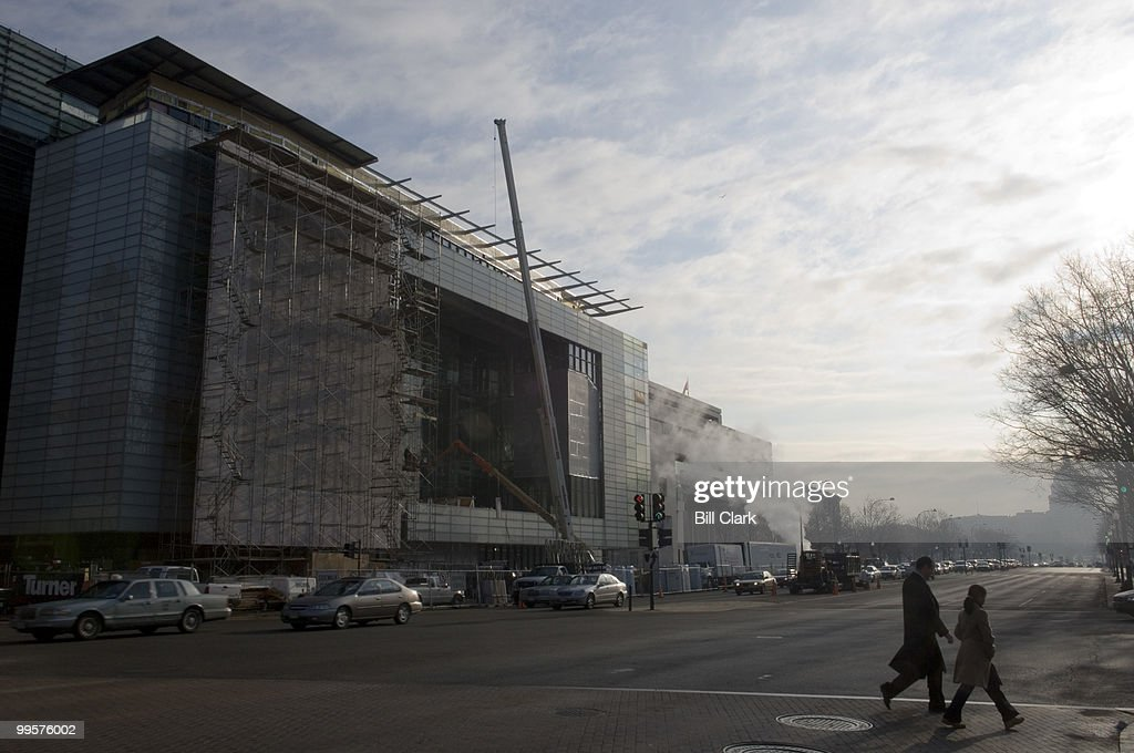 Construction crews continue to work on the new Newseum building on Pennsylvania Avenue on Tuesday, Feb. 27, 2007. The mueum is slated to open in the fall of this year.