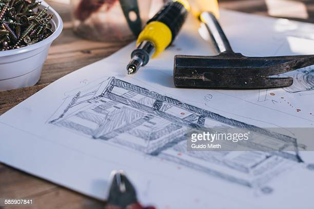 construction drawing on a table. - garden drawing stock pictures, royalty-free photos & images