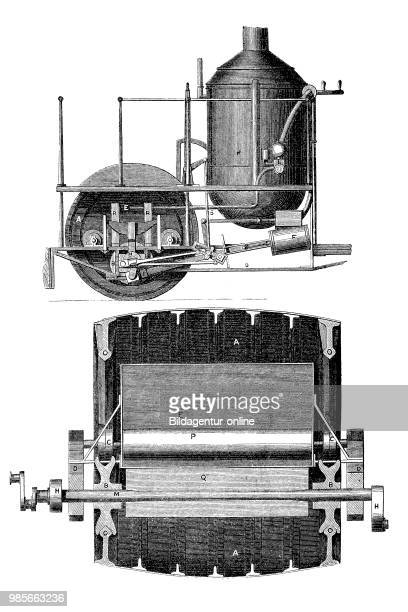Construction drawings of the steam traction engine of Simon Stevens vertical view and side view of the tractor for omnibuses and other cars for the...