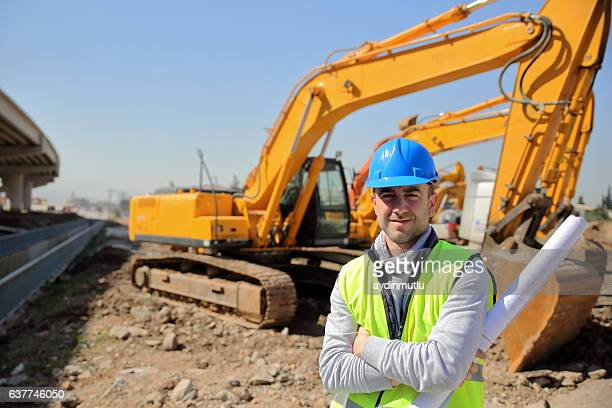 construction engineer and machinery - excavator stock photos and pictures