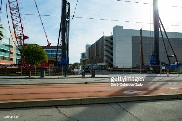 Construction equipment in the Mission Bay neighborhood of San Francisco California near the future home of Chase Center the new stadium for the...