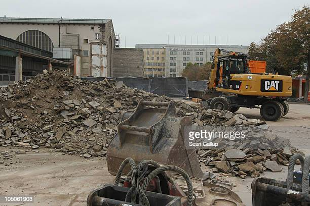 Construction equipment lies at the demolition site where the nothern wing of Hauptbahnhof train station once stood on October 8 2010 in Stuttgart...