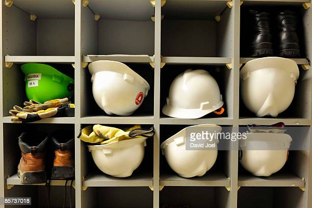 Construction hard hats, work gloves, & work boots