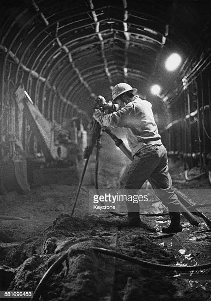 Construction in one of the Shinkansen or bullet train tunnels Japan 1977