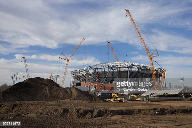 Construction in progress on the new retractable roof on Arthur Ashe Stadium at the USTA Billie Jean King National Tennis Center in Flushing Queens...